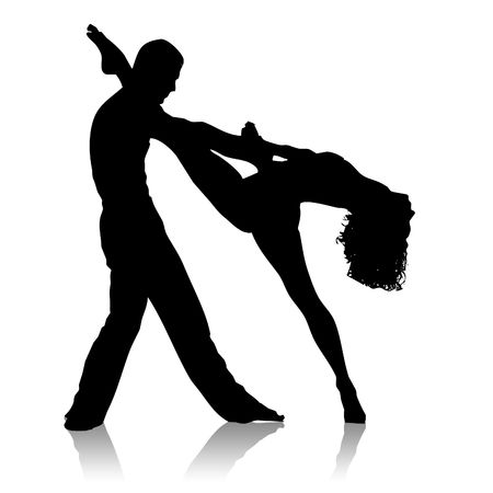 Black silhouette of dancing couple on a white background photo