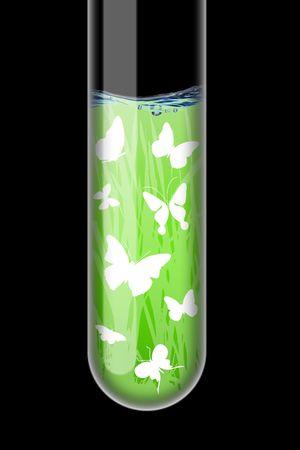 Spring illustration in an test-tube on black background Stock Illustration - 6289217