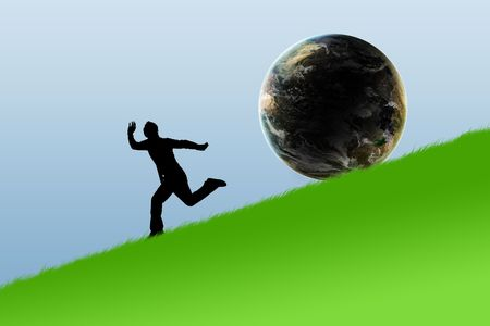 the slope: Illustration of the running person on a slope of mountain from a sphere