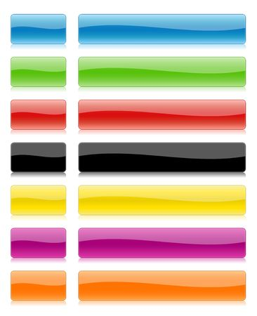 gloss banner: Illustration of buttons from glass of different colours Stock Photo