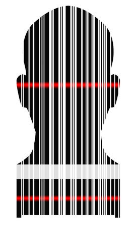 coded: Silhouette of a head of the person from a bar code