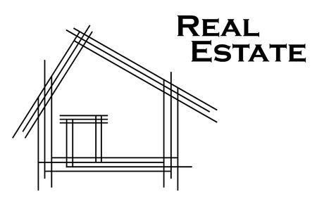 logo batiment: Sch�ma de dessin de la maison, comme un logo Banque d'images