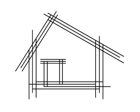 black outline: Schematic drawing of the house, as a logo