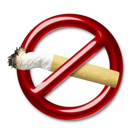 no fumar: Ilustraci�n de un s�mbolo rojo de una interdicci�n que cruza el cigarrillo Foto de archivo