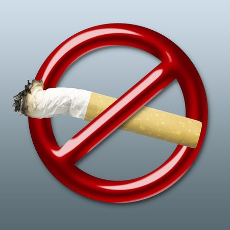 Illustration of a red symbol of an interdiction which crosses cigarette