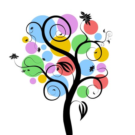 Illustration of a tree with different colour fruits illustration