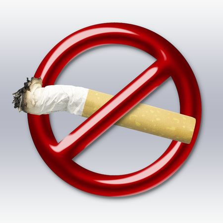 crossed cigarette: Illustration of a red symbol of an interdiction which crosses cigarette