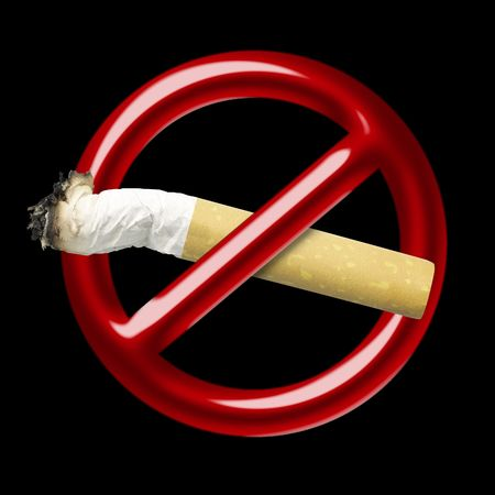 Illustration of a red symbol of an interdiction which crosses cigarette illustration