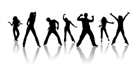 teenagers group: Black silhouettes, youth on a white background Stock Photo