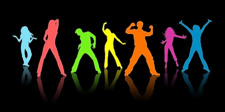 Colour silhouettes, youth on a black background photo