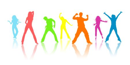 Colour silhouettes, youth on a white background photo