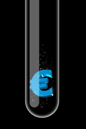 Illustration of a glass test tube with money inside it illustration