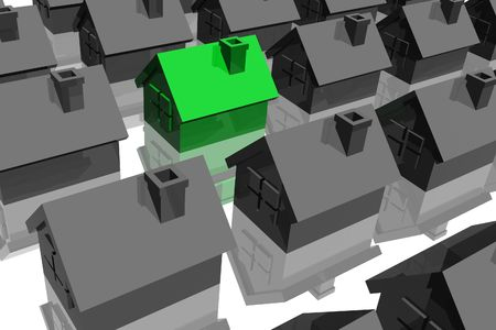 sold small: Illustration of the especial house, against many other houses Stock Photo