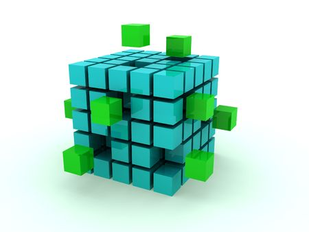 modify: Cube illustration from which its parts fly away