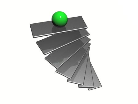 first steps: Illustration of a ladder with sphere standing on top