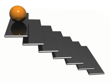 sphere standing: Illustration of a ladder with sphere standing on top