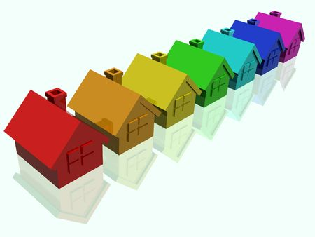 sold small: Illustration of some houses in colour rainbows