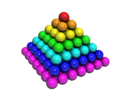 Illustration of spheres of colour of a rainbow, in the form of a pyramid illustration