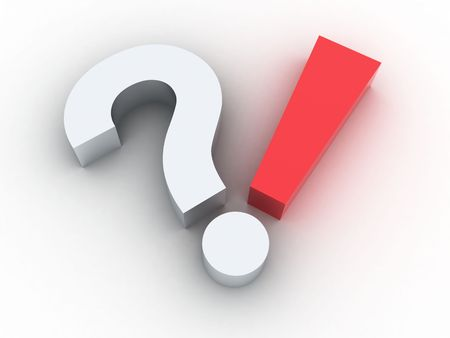 questioning: 3d illustration of a sign question on a white background