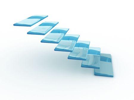 first steps: Illustration of the transparent ladder going upwards