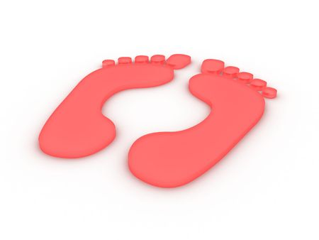 Red traces of two feet on a white background Stock Photo - 6844842
