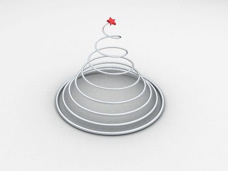 coil spring: Illustration of a spiral in the form of a tree on a white background