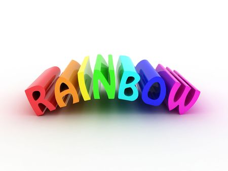 Illustration of a word a rainbow, from different colours illustration
