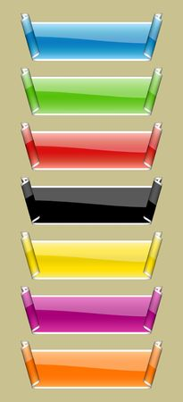 Illustration of buttons with a curl of different colours illustration
