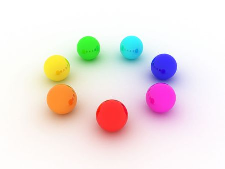 color reflection: Illustration of spheres of the different colour standing in a circle