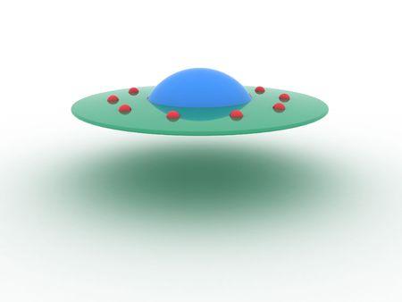 Illustration spaceship ufo on a white background illustration