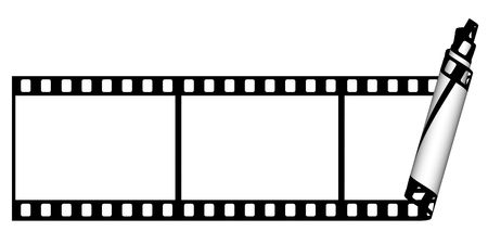 Film strip curl  from the one part on a white background