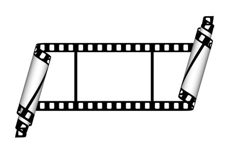 especial: Film strip curl  from the different parties on a white background