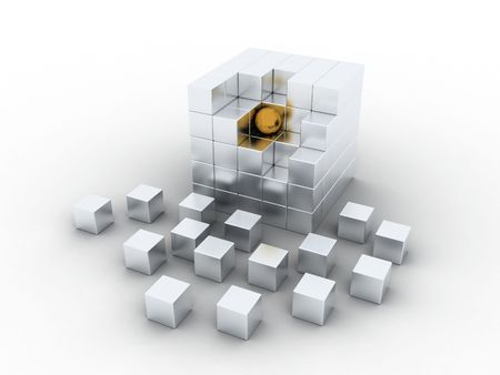 Cube illustration from which its parts drop out illustration