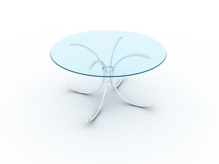 modelling: Illustration of a glass table on metal legs Stock Photo