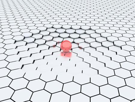 downwards: Illustration of sphere against steps going downwards