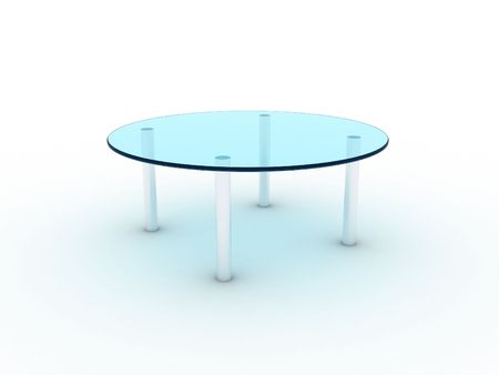 metal legs: Illustration of a glass table on metal legs Stock Photo