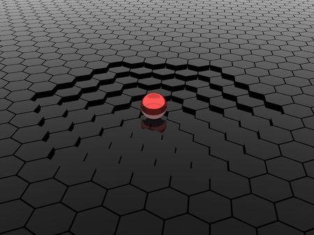 red sphere: Illustration of sphere against steps going downwards