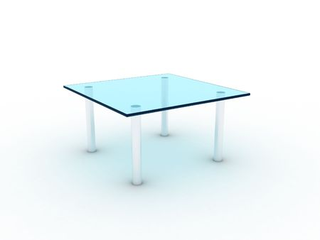 Illustration of a glass table on metal legs Stock Illustration - 7301374