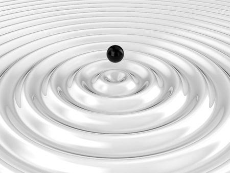 circulos concentricos: Ilustraci�n de una gota de agua y la ola de ella