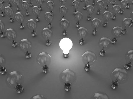 conceptual bulb: Illustration of a bright lamp against other switched off Stock Photo