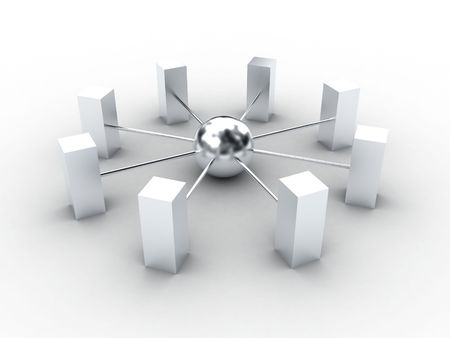 chrome base: Illustrazione di comunicazioni, da una sfera in centro a rettangoli