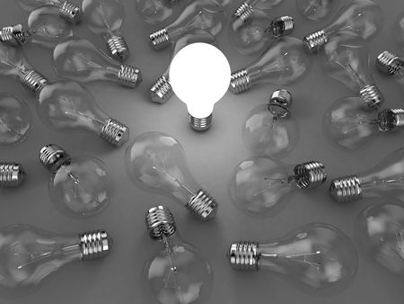 lighting bulb: Illustration of a bright lamp against other switched off Stock Photo