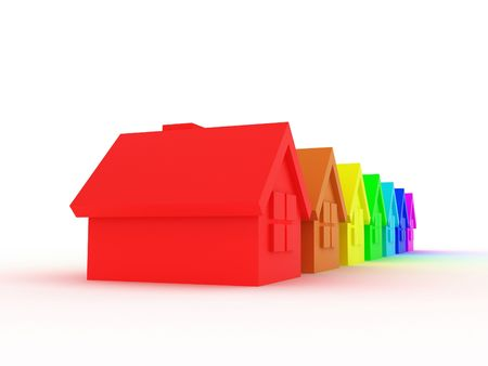 Illustration of some houses in colour rainbows illustration