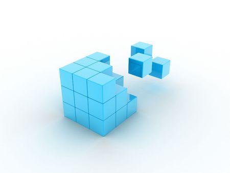 Ilustración de cubo de que sus partes volar  Foto de archivo - 7690857