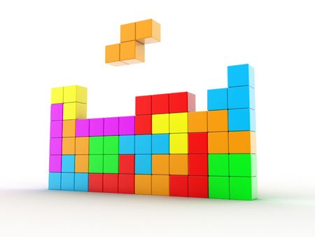 tetris: Illustration of cubes of different colour, for game in a tetris Stock Photo