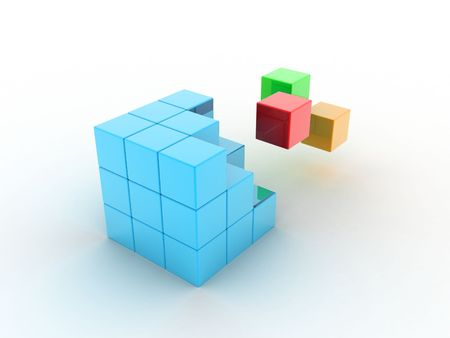 Cube illustration from which its parts fly away illustration