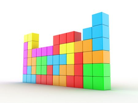 Illustration of cubes of different colour, for game in a tetris illustration
