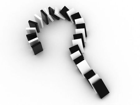 dominoes: 3d illustration of a sign question as falling dominoes Stock Photo