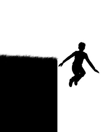 terribly: Illustration of the person which jumps in a precipice Stock Photo