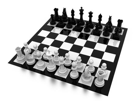 Illustration of figures for game in chess on a board illustration